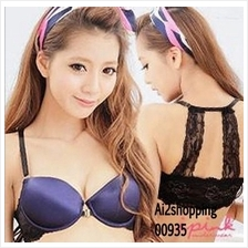 00935Japan blue-black lace gather sexy underwear Bra sets