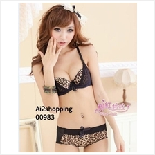 00983Korean Black Leopard gather push sweet and sexy underwear sets