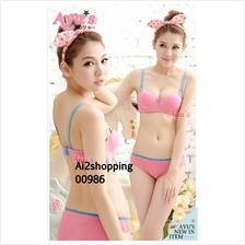 00986Japan Pink Lady gather two worn cotton underwear Bra sets
