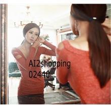 02440Korean sexy V-neck protruding cotton shoulder hollow dress gown