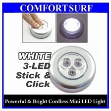 Stick N Click Cordless Mini 3 LEDs Bulb Bright Spot Light + FREE GIFT