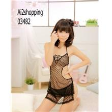 03482Taiwan Heart stamp Sexy Lingerie apron thong three-piece