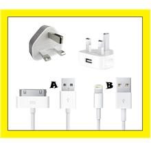 iPhone iPad iPod 3 Pin Wall Travel Charger Adapter + USB Data Cable