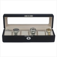 6 Watch Carbon Look Box Glass Display Lockable Storage Case