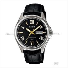 CASIO MTP-1377L-1AV STANDARD Analog day-date leather strap black