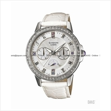 CASIO SHE-3023L-7A SHEEN multi-hand swarovski leather strap white