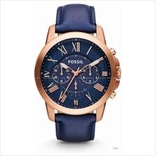 FOSSIL FS4835 Men's Grant Chronograph Leather Strap Blue