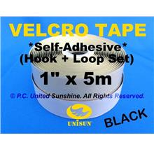 "VELCRO TAPE Self-Adhesive BLACK 1""x 5m Hook & Loop for Window Door ETC"