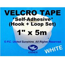 "VELCRO TAPE Self-Adhesive WHITE 1""x 5m Hook & Loop for Window Door ETC"