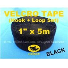 "GRADE AA VELCRO TAPE NON-Adhesive BLACK 1"" x 5m Hook & Loop Set"