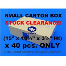 "x 10 pcs. SMALL CARTON BOX 15""  x 10½""  x 3⅞"" Ht Clearance LAST STOCK"