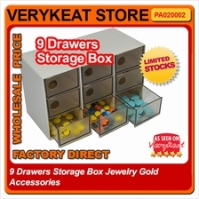 9 Drawers Storage Box Jewelry Gold Accessories