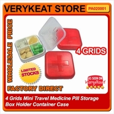4 Grids Mini Travel Medicine Pill Storage Box Holder Container Case