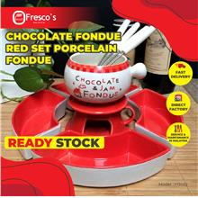 Chocolate Fondue Red Set Porcelain Fondue Y13022