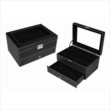 PU Leather / Carbon Fibre Watch Storage Box - 20 Slots