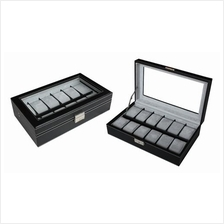 PU Leather / Carbon Fibre Watch Storage Box - 12 slots