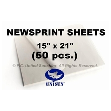 "x 50 pcs. NEWSPRINT PAPER Sheets 15"" x 21"" in Roll for Pack or Sketch"