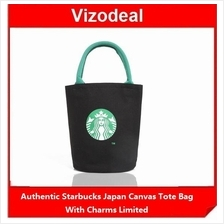 Starbucks Japan Canvas Tote Bag With Charms Limited Authentic Black