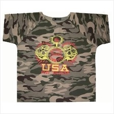 grey usa soldier loose shirt (Fitness Gym Sport) baju gym longgar