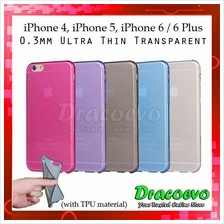 iPhone 4 4s 5 5s 6 6 Plus 0.3MM Ultra Slim Transparent Protective Case