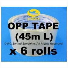 Transparent Plastic OPP TAPE 48mm x 45m L x 6 ROLLS for Packaging
