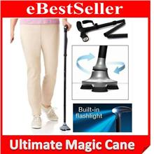 Foldable Ultimate Magic Cane Adjustable Heights + LED + Wide Base!