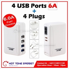 4 USB Port Charger 2.1A 6A Fast Charge with 4 International Plugs