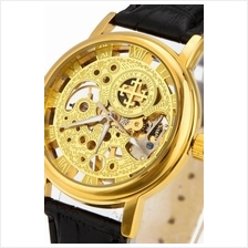 Cross Skeleton Design Unisex Manual Winding Mechanical leather Watch G