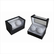 2 Slot Dual Pillow PU Leather Watch Winder Storage Case - BLACK