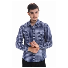 Men Check Shirt (Blue with Small Plaid)