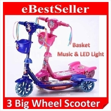Kids Children Child Wheel Micro Scooter Music LED Flash Light Basket