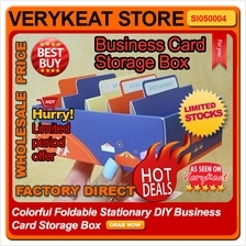 Colorful Foldable Stationary DIY Business Card Storage Box