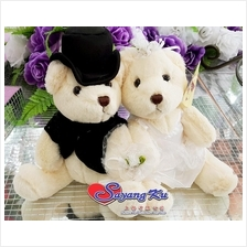 WEDDING CAR OR ROOM DECORATION BRIDE & GROOM TEDDY BEAR