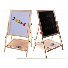 Kid's Wooden 2 In 1 Adjustable Blackboard And Whiteboard Double Sided