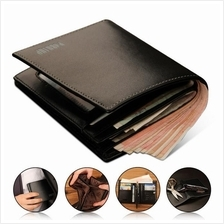 Men Premium Genuine Cowhide Leather Black Wallet Horizontal / Vertical
