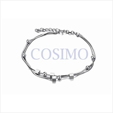 Fashion White Gold Plated Anklet Foot Chain Cube Adjustable