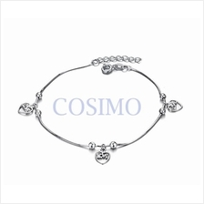 Fashion White Gold Plated Anklet Cute Heart Adjustable Length