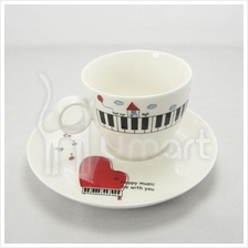 Musical Piano Ceramic Coffee Cup With Mat