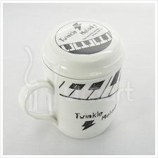 Musical Keyboard Ceramic Mug With Lid