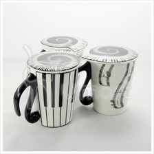 Music Ceramic Mup with Music Note Shape Lid