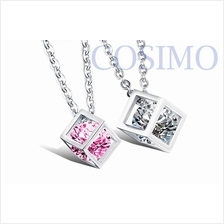 Couple Necklace Cubic Shape with CZ Stone Lovers Pendant