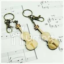 Music Handmade Natural Wood Violin Key Chain