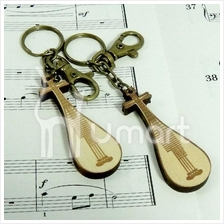 Music Handmade Natural Wood The Lute Key Chain