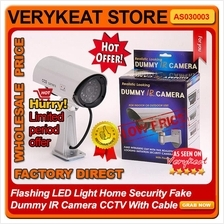 Flashing LED Light Home Security Fake Dummy IR Camera CCTV With Cable