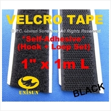 "Grade AA VELCRO TAPE Self-Adhesive BLACK 1""x 1m for Window Door Screen"
