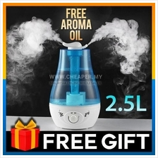 3L Dual Head Ultrasonic Air Humidifier Purifier Silent with LED Light
