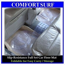 Full Set 5pcs Transparent PVC Waterproof Car Floor Non-Slip Mat Carpet