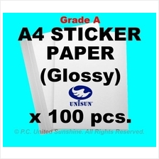 x100pcs A4 STICKER PAPER (Glossy) Grade A HIGH QUALITY Label Stickers