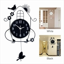 Black Themed Metal Swing Bird Wall Clock