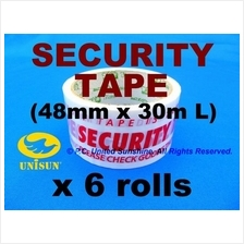 SECURITY TAPE OPP 48mm x 30m L x 6 ROLLS Discourage Tamper Stealing